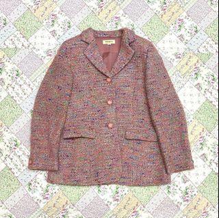 Vintage ::: 韓國帶回少女粉混毛復古釦古著外套
