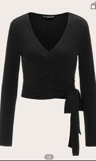 Black full sleeve wrap top