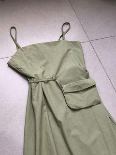 Callie Slip Dress with waist bag set in sage green | Dress hijau satu set dengan tas pinggang