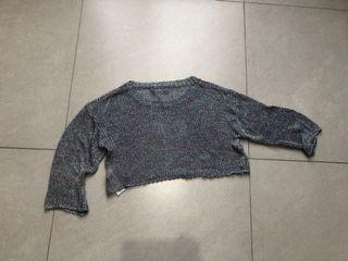 Chameleon (Mix purple, green & silver) knit cropped sweater | Sweater rajut silver