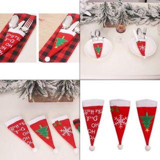 Christmas Decoration Tree Snowflake Hat Fork Spoon Cutlery Holder Cover