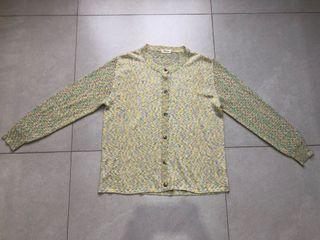 Cotton Candy Knit Vintage Cardigan | Kardigan rajut pelangi dominan warna hijau / green