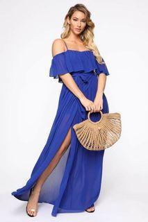 FN women's large royal blue maxi dress