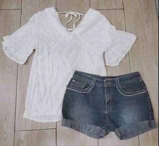 Korean White V-Neck Tie-Up Blouse and Denim Shorts