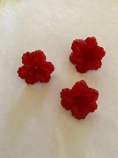 Matte Deep Red 3Petal Vintage Lucite Flower Bead