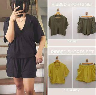 New! 3 colors! Ribbed Shorts Coordinates (FS: Up to plus size, loose style, stretch, M - XL frames)