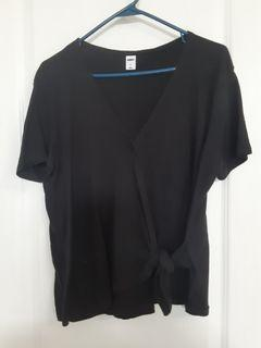 Old navy black wrap top womens large