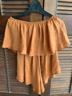 Rusty orange strapless playsuit
