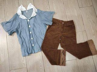 SET Korean Retro Vintage Y2k Blue Buttondown Collared Top and Brown Corduroy Straight Cut Jeans