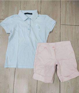 SET Pastel Blue Polo Shirt and Cute Pink Shorts