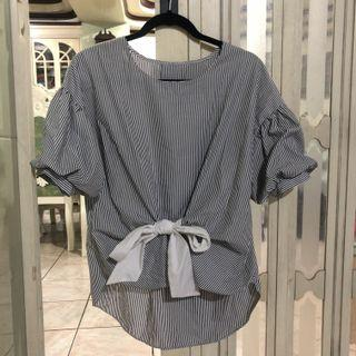 Striped tie knot blouse