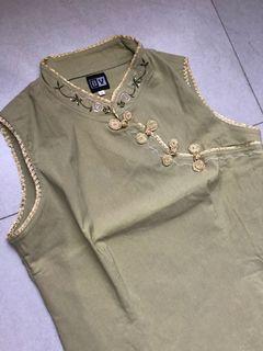 Y2K / 90s Vintage Cheongsam one set with skirt in Sage Green  | Baju Imlek