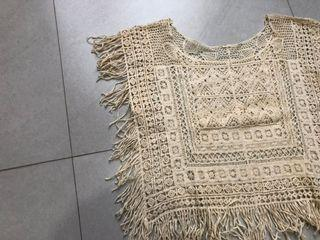 Vintage Lace Top / Vest with fringes | rompi renda creme / krem
