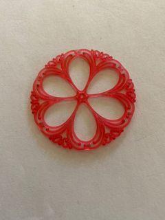 Watermelon Floral Filigree Vintage Lucite Pendant