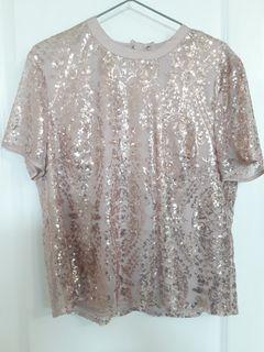 Womens  large pink with rose gold pink sequins
