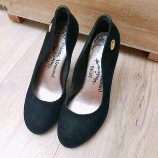 專櫃Vivienne Westwood x Melissa 絨面黑色高跟鞋 #支持