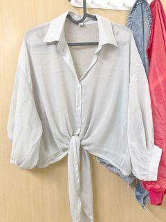 奶油灰雪紡襯衫
