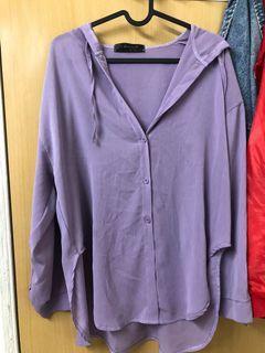 薰衣草紫連帽雪紡襯衫