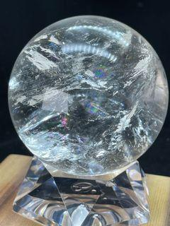 天然白水晶球 7.5cm 清透料彩虹光 風水擺件   ※ 個人收藏品  低價分享收藏 ※-382