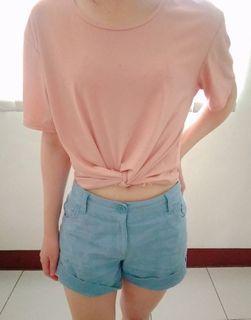 涼感親膚上衣 坑條 多造型 粉色