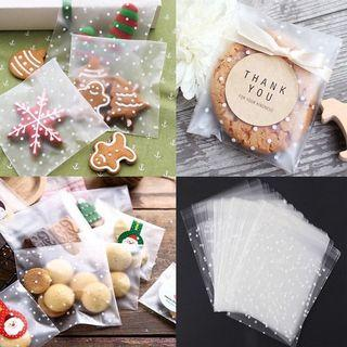 🆕️ Assorted Size Clear Frosted 40pcs Cookie Candy Souvenir Self Adhesive Plastic Packaging 🍪🍬