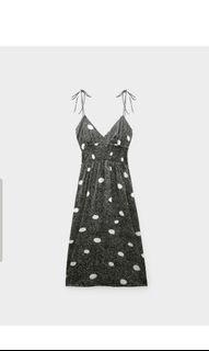 Authentic Pomelo polka dot lowback, self-tie shoulder straps, midi maxi dress