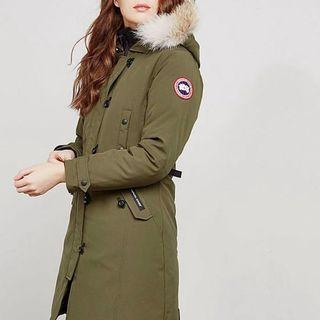 Canada Goose Authentic Army Green Long Parka Jacket (Small)