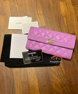 Chanel boy紫粉色荔枝牛皮淡金長夾