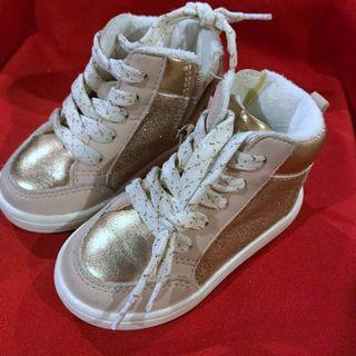 H&M Sparkly old rose silver high cut sneakers size 20/21 US 4-5