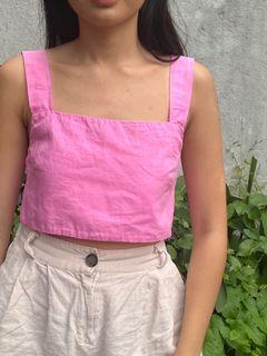 Linen blend straight neck crop top (like araw)