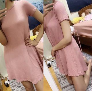 粉色莫代爾棉長版T恤洋裝粉紅色短袖洋裝寬鬆捲袖居家服洋裝睡衣#支持