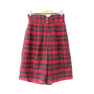 Vintage ::: 蘇格蘭紅格紋高腰古著短褲⚡️三隻孔雀
