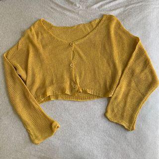薑黃色針織排扣小外套