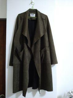韓版麂皮風衣外套 質感墨綠