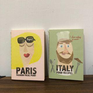 [代售] 插畫風小筆記本-義大利食譜、巴黎時尚焦點