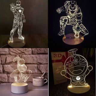 Acrylic 3D Illusion LED Night Lamp USB Warm Light Super Hero Cartoons