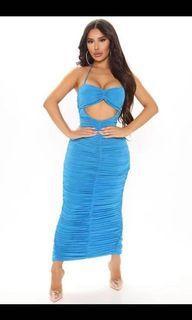 Fashion Nova coming in ruched maxi dress