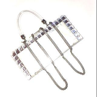 Free Ongkir New Zara Rigid Transparent Box Bags with Chain and Studs