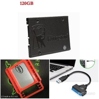 KINGSTON A400 Solid-State Drive SSD SATA 3 2.5 120gb & USB 2.0 to SATA Adapter Cable Bundle