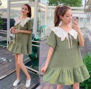 Korean Matcha Green Babydoll Style Dress