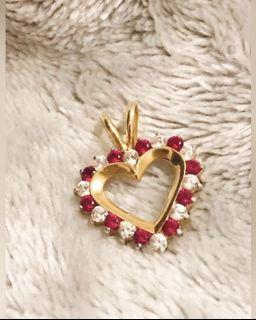 solid gold 14k pendant with Ruby and CZ $390