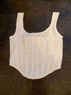 White corset crop top