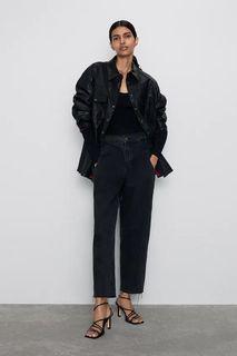 Zara 系列直筒牛仔褲-黑-32