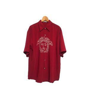 ·新裝裏百貨行· 90s bootleg再製電繡酒紅色襯衫