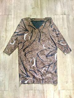 Bronze, Black, & White Abstract Print Dress