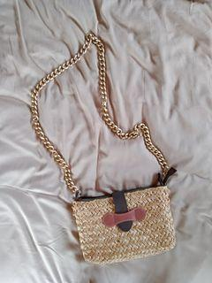 Galicia Manila Woven Bag with Gold Chain