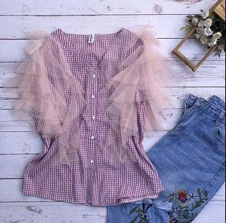 Gingham Puff Top ❤️