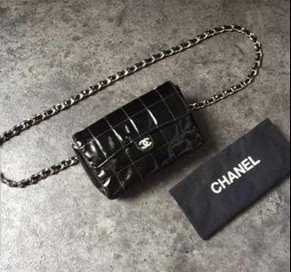 Gudkondi ch mini beltbag black patent shw#6 with holo additional strap