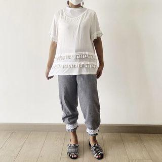 H&M white shirt tassel