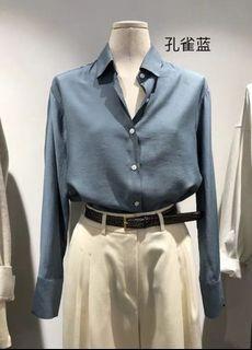 Dongdaemun Korean Blue Satin Blouse - M Size